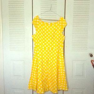 Dresses & Skirts - 70s polka dot yellow dress